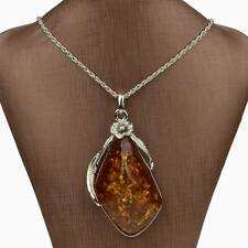 Bridal Tibetan Silver Amber Baltic Flower Chain Charm  Necklace Pendant