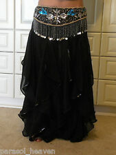 LINED BLACK ENDLESS WAVE HAREM PANTS, CHIFFON & SEQUINS for BELLY DANCE, INDIA