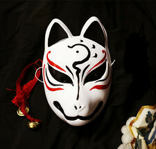 Hand-Painted Full Face Japanese Fox PVC Kitsune Cosplay Mask Party Halloween