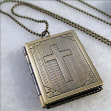 Cross Bible Book Vintage Brass Picture Locket Pendant Necklace