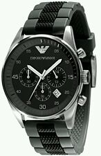 NEW Emporio Armani AR5866 Mens / Gents Black & Grey Silicon Chronograph Watch