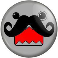 """Moustached Monacle Face 25mm 1"""" Pin Button Badge Movember Tash Novelty Hipster"""