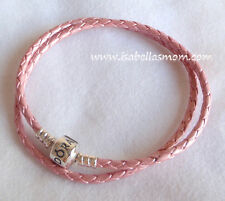 Genuine PANDORA Charm/Beads PINK Leather/Silver Double BRACELET L 16.1~41cm NEW