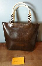LAMARTHE BROWN WOOD GRAIN PATENT LEATHER TOTE~MEDIUM!