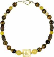 Kette Collier Halskette Tigerauge Ethno Design Schmuck Necklace Gold Tibet