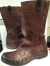 Made in Italy By Bait Men's 233S01 Brown  Zipper Leather Boots  Size 8 D New