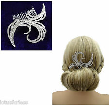 Beautiful Art Deco Style Diamante Hair Comb Slide in Silver Tone Bridal Prom