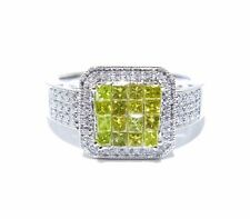 14k White Gold White & Yellow Invi & Prong Set Colored Diamond .75ct Ring