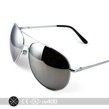 Extra Large Silver Mirrored Oversized Aviator Sunglasses Free Case XL S077
