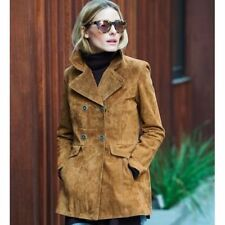 Zara Genuine Suede Leather Double Breasted Jacket Coat Tan Tobacco XS BNWT