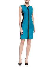 ELIE TAHARI NEW Mila Blue Leather Zip Front Party Clubwear Dress 14