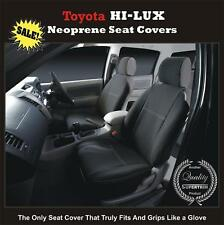 TOYOTA HILUX 2005-11 SR XCAB PREMIUM Waterproof Seat Cover FRONT PAIR Black 01