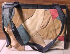 Stitched Quilt Pattern Genuine Leather Woman Bag Purse Multi-Colored Handbag
