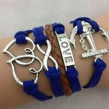 NEW Blue Infinity Love Anchor Leather Cute Charm Bracelet plated Silver SL94A