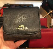 NWT Coach Signature PVC Leather Small Trifold Wallet F53837 - Brown/ Black