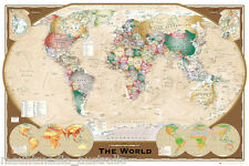 Large Map Of The World LAMINATED POSTER 91x61cm Tripel Projection Political NEW