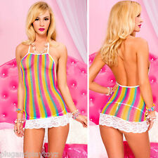 Sexy Flirty Rainbow Stripe Sheer Fishnet Mini Dress White Lace Teddy Lingerie OS
