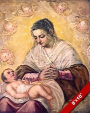 MADONNA OF THE STARS MARY WITH JESUS CHRIST CHILD PAINTING ART REAL CANVAS PRINT