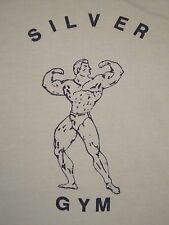 Vintage Silver Gym Workout Bodybuilding Muscle T Shirt XS