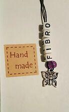 Fibromyalgia awareness keychain. Fibro keyring butterly purple