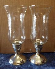 "2 Old 9.5"" Tall DUTCHIN CREATION Sterling Silver CANDLE HOLDERS Hurricane Lamps"
