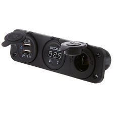 Marine 12V Cigarette Lighter Socket + Voltmeter + USB Charger 5V 1A 2.1A