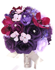 Wedding Bouquets 17 pcs Silk Flower Bridal package PURPLE LAVENDER PLUM Sangria