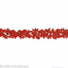 Christmas 6ft/1.8m Garland Red Poinsettia Flowers with Glitter Gold Centres