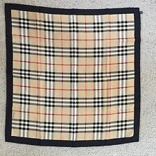 Authentic BURBERRY Beige Heritage Nova check Silk Square Scarf $350 Burberrys'