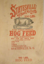 """FABULOUS """"PURE WHEAT PRODUCT"""" FEED SACK STATESVILLE FLOUR MILL 100 LBS"""