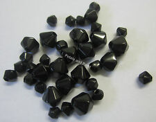 35 Black Glass Bicone Beads 4mm 6mm & 8mm Bead For Beading & Jewellery TAR207