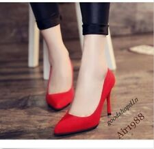 Sexy Womens Shoes Euro Style Faux Suede Pointy Toe High Heel Pumps Stilettos Red
