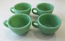 4 Fire King Jadite G-299 Restaurant Ware RW Coffee Cups ~ Early Mold & Mark