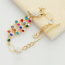Colorful New Rhinestone Crystal Peacock Bracelet Women Bangle Jewelry Gift