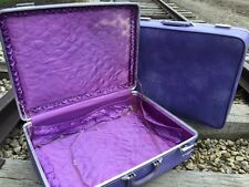 "Set of 2 Mid Century Modern Invicta Luggage Suitcase Cases in Violet - 24"" & 26"""
