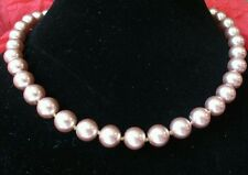 """Prom Necklace Faux #Pearl Glass Heavy 18"""" Light Pink Hand Tied Knotted #Fashion"""
