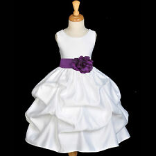 WHITE FLOWER GIRL DRESS WEDDING PAGEANT BRIDESMAID TODDLER PICKUP S L 2 4 6 8 10