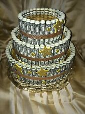 Gold Money Cake_Made with REAL MONEY gift for birthday_graduation_baby shower