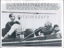 1957 Prince Philip & Prince Charles on Duke of Edinburgh Yacht Press Photo