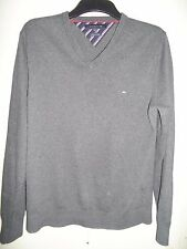 TOMMY HILFIGER COTTON & CASHMERE CHARCOAL GREY V NECK JUMPER SIZE M