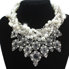 Gorgeous Silver Twist Pearl Chain Crystal Chunky Big Necklace Statement Bloggers