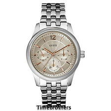 NEW GUESS WATCH for Men * Silver Tone Stainless Steel w/Beige Dial * U0474G2