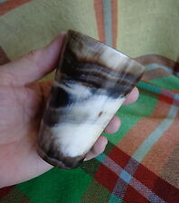 """Antique Scottish Cow Horn Whisky Cup - 3.5"""" Exquisite Natural Markings #3"""