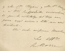 Lettera Autografo Generale Roberto Morra di Lavriano Annuncio Nascita Figlio