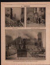 WWI Ruines Incendie Fire Pompiers Cathédrale Notre-Dame Reims 1914 ILLUSTRATION