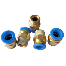 """5 pcs 4 mm Tube Push in Fitting to 1/8"""" BSPT Male Air Pneumatic Connector"""