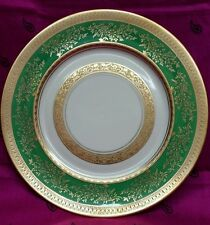 8 H&C HEINRICH & CO Selb Bavaria Green and Gold Gilded Filigree Dinner Plates