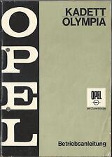OPEL KADETT OLYMPIA B Betriebsanleitung 1968 Bedienungsanleitung Handbuch BA