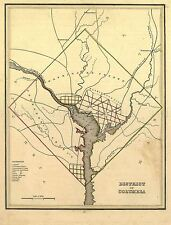 Mappa ANTICA 1835 Bradford Distretto Columbia Washington REPLICA STAMPA pam1685