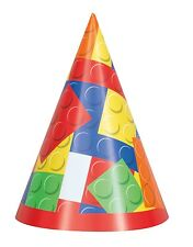 LEGO BUILDING BLOCKS CONE HATS (8) ~ Birthday Party Supplies Favors Paper Toys